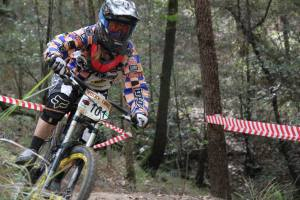 Photo: Cell Bikes/Jo Fox - RedAss DH State Series Winner 2013, Sarah Booth at Awaba yesterday.