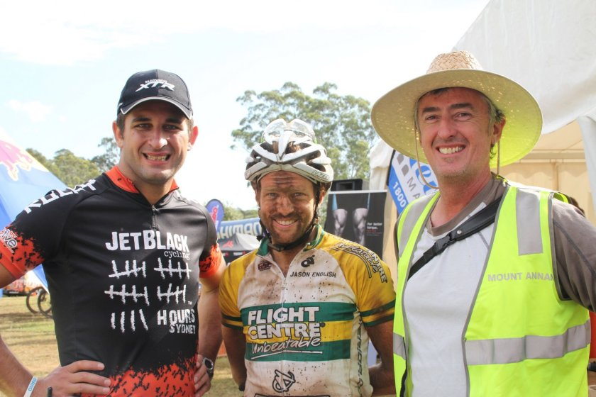 "Reigning Australian 24 H Solo National Champion, Jason English - here at his win at the JetBlack 24H at The Austrlian Botanic Garden, Mt Annan with Rocky Trail's Martin Wisata (left) and trail ""godfather"", Horticultural Manager of the gardens, Dan Bishop. Photo: Rocky Trail"