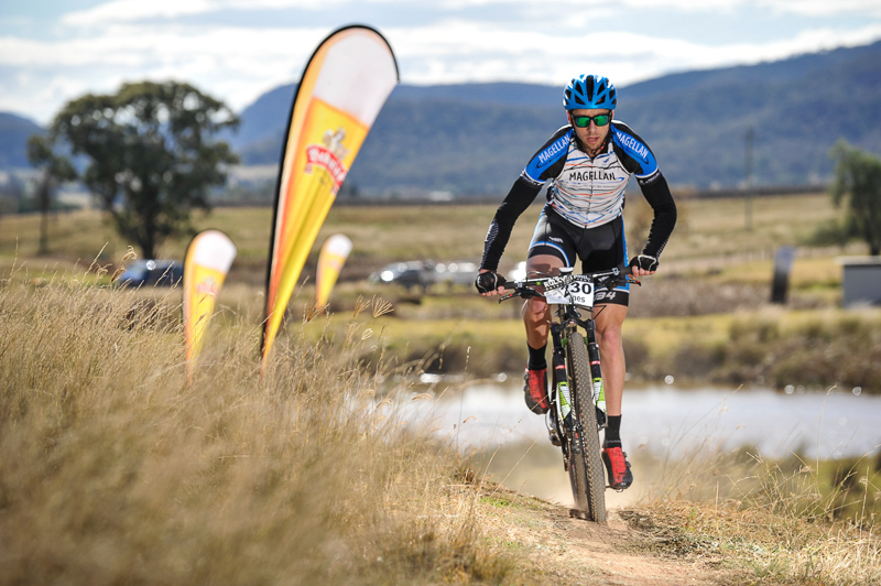 James Lamb from Magellan Racing on the finishing straight towards the event centre at James Estate.