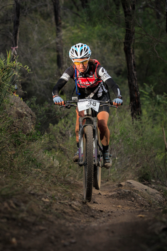 Wendy Stevenson, elite female winner in the technical singletrack section.