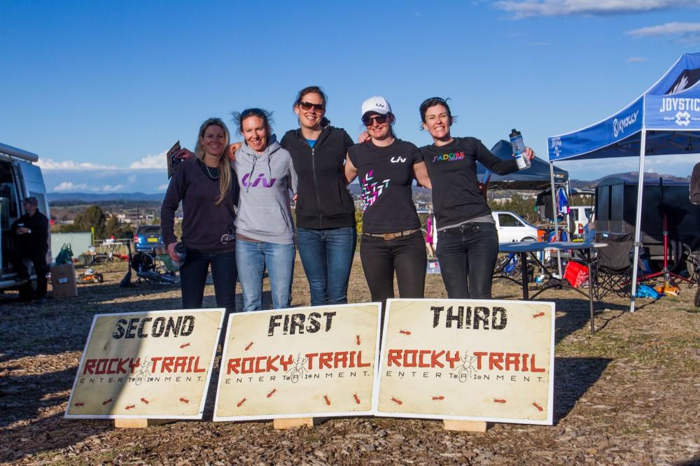 Elite Female podium (l-r): Vanessa Thompson, Claire Whiteman, Rosemary Barnes, Jaclyn Schapel and Kath Bicknell. Photo: Jaime Black / JB Photomedia