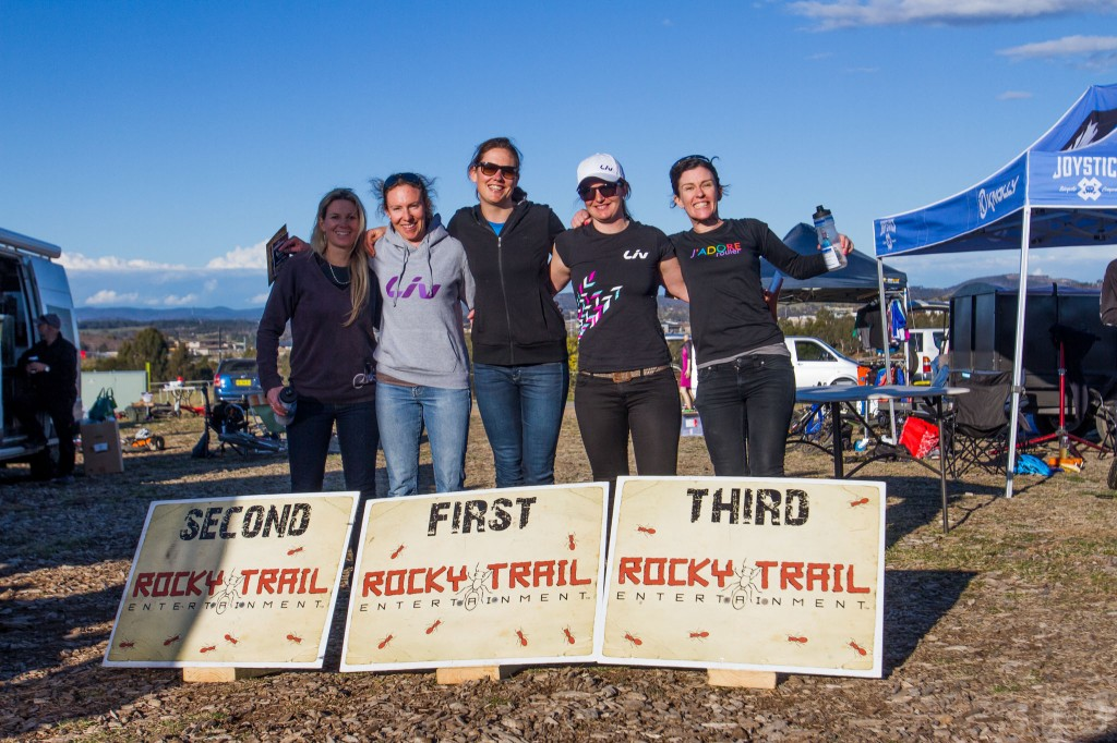 Elite Female podium (l-r): Vanessa Thompson, Claire Whiteman, Rosemary Barnes, Jaclyn Schapel and Kath Bicknell. Photo: Jaime Black / JB Photomedia