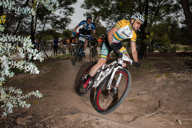 Andy Blair leads out the field into a singletrail section at Stromlo Forest Park, where he won the SHIMANO MTB GP 4-hour elite men's race.