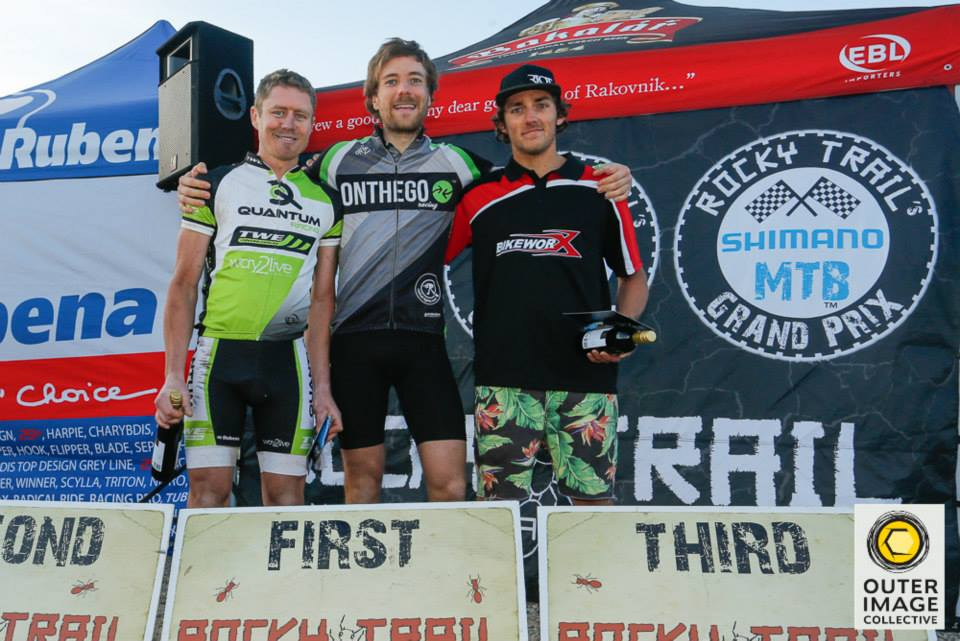 Overall Series Podium of the 7-hour elite men's category 2014 (l-r): Andrew Lloyd (2nd, Newcastle NSW), Callum McNamara (1st, Canberra ACT) and Max Richardson (3rd, Erina NSW)