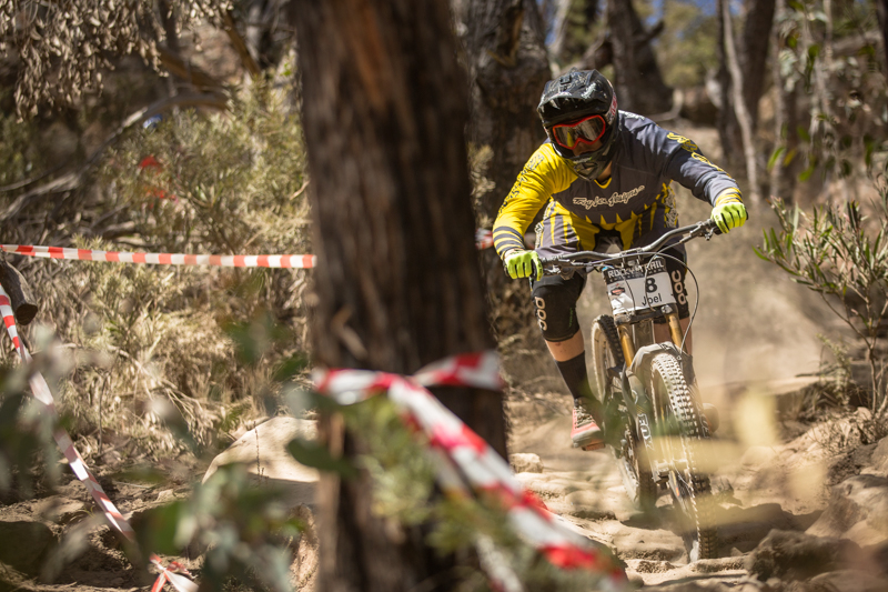 Joel Willis: the reigning U19's Downhill State Champion takes on the Elite Men's division - gets fifth place.