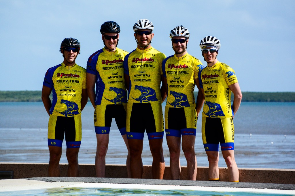 "The Il Pastaio / Rocky Trail Racing team is ready to ""croc"" - thank to headline sponsor Il Pastaio and sponsors Gloryfy Unbreakable, JetBlack Cycling, SHIMANO Cycling Australia and ZeroFive Custom Sportswear. Photo: Kath Bicknell"
