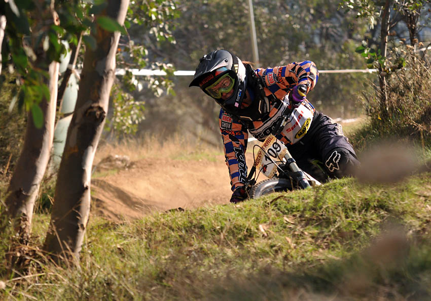 Tegan Molloy - reigning Junior Downhill World Champion at the start at Stromlo Forest Park this weekend. Photo: Ronnie Grammatica.