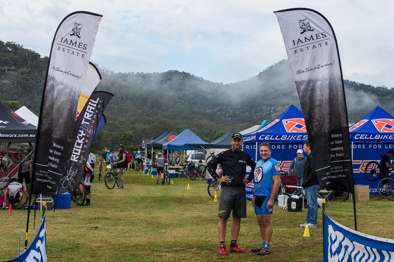 A winning team: Martin Wisata from Rocky Trail Entertainment (left) with trail builder and James Estate General Manager, Graeme Scott. Photo: OuterImage.com.au