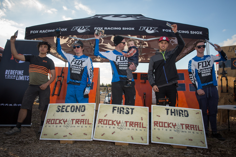 Elite men's podium at Rd5 of the Ride FOX- Australia Rollercoaster #Enduro State Series, hydrated by CamelBak (l-r): Anthony Elliot (4th), Tim Eaton (3rd), Ben Cory with little mini-me Reuben (1st), Graeme Mudd (2nd), Thomas Crimmins (5th).