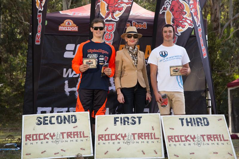 Elite men's series podium with Lithgow's Mayor Maree Statham (l-r): Joel Willis, Thomas Crimmins (absent), Jake Newell.