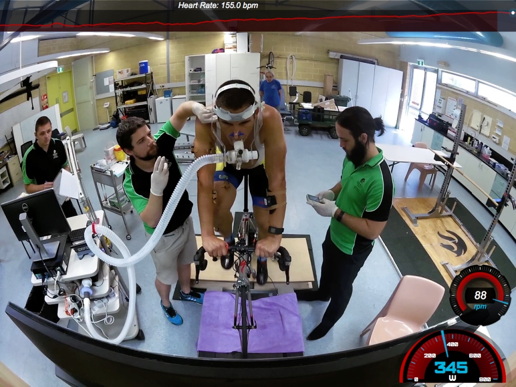 Martin Wisata doing performance testing at the Ourimbah Campus of Newcastle University.