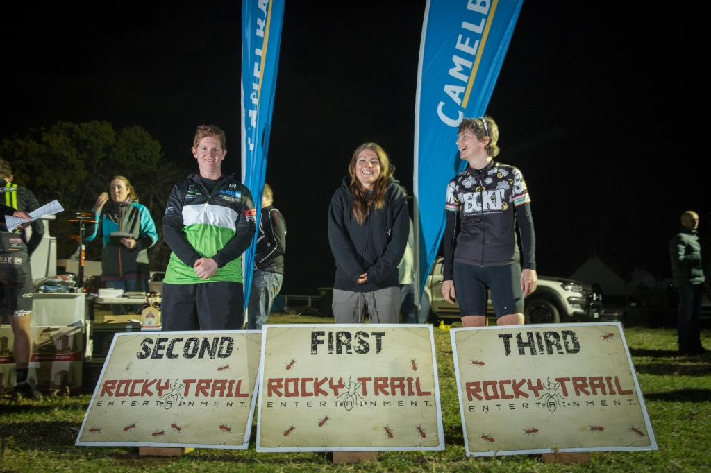 Elite Female Podium Jetblack 12hr at Mowbray Farm (l-r): Leah Childs, Charlie McCabe, Claudie Fiess.