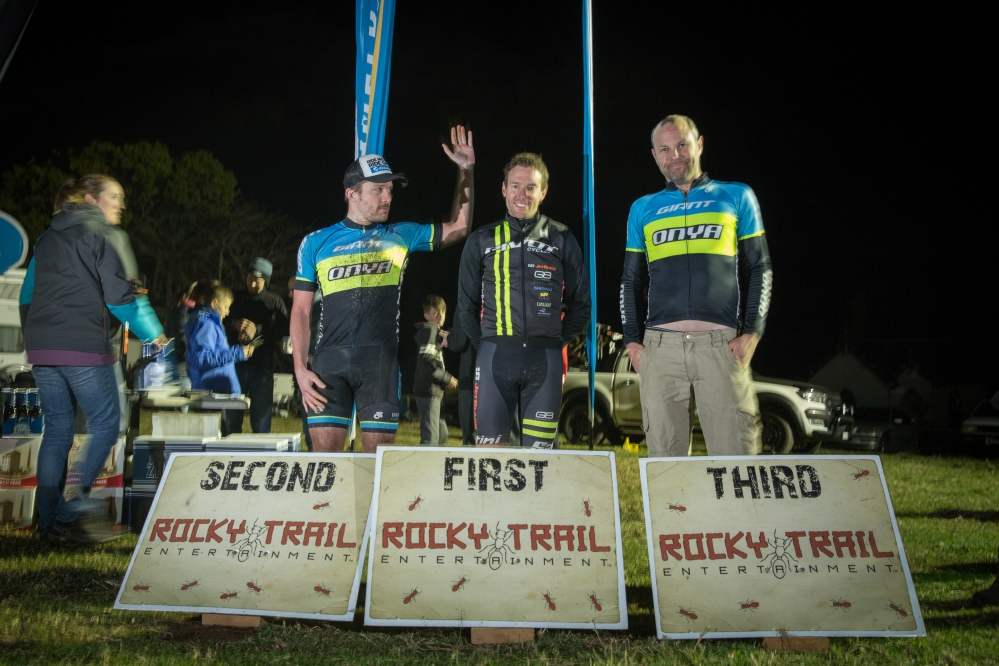 Elite Male Podium Jetblack 12hr at Mowbray Farm (l-r): Sam Moffitt, Jason English, Aaron Thompson.