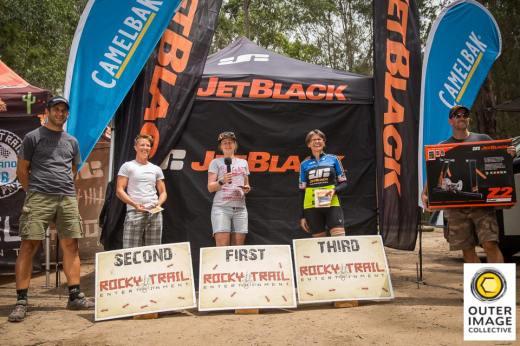 24H Solo Female podium (l-r): Jen North, Jemma Burtonwood, Dalene Pretorius.
