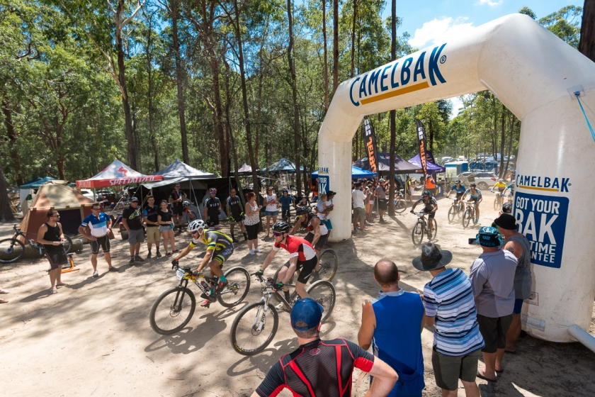 Race start to the 9th JetBlack 24 Hour at Awaba MTB Park.
